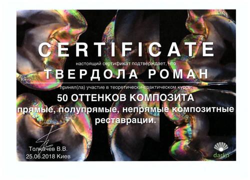 Твердола Роман сертификат 6