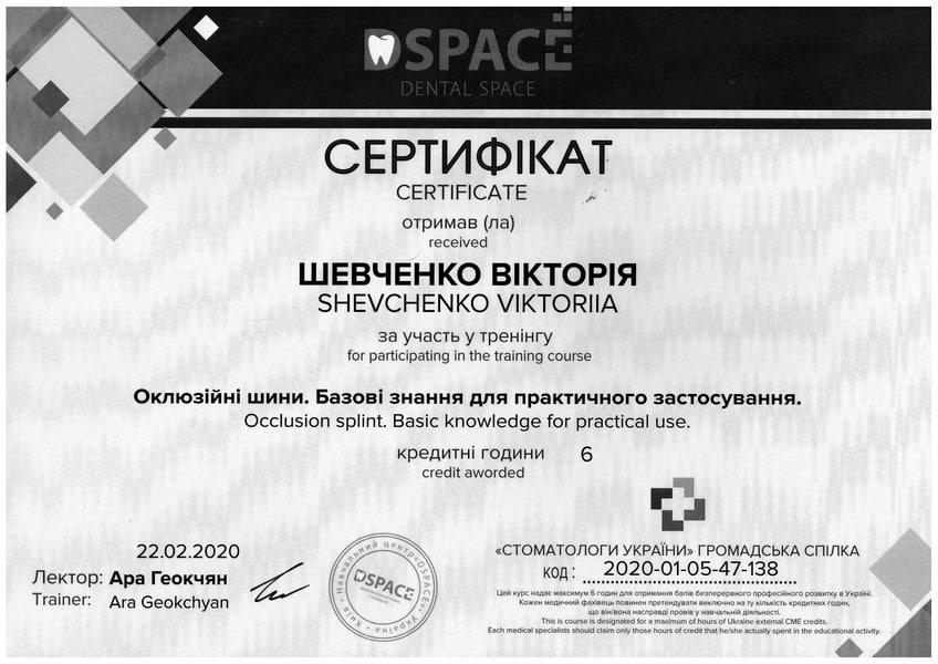 Шевченко сертификат 1