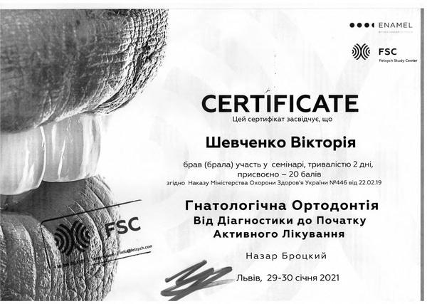 стоматолог Шевченко - новый сертификат
